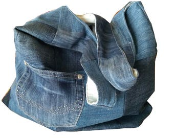 Handmade Bag Denim recycled, blue big