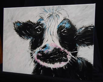 Black and Blue Cow on Canvas