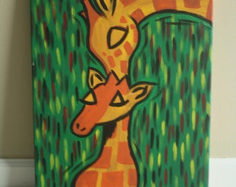 Mom and Baby Giraffe Acrylic Painting