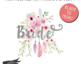 Bride Floral Feathers- INSTANT DOWNLOAD - PDF Printable - St. Patrick's Day
