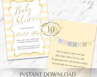 Yellow Baby Shower Invitation Template - INSTANT Download