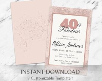 Rose Gold Glitter & Blush | 40th Birthday Invitation | Instant Download Template