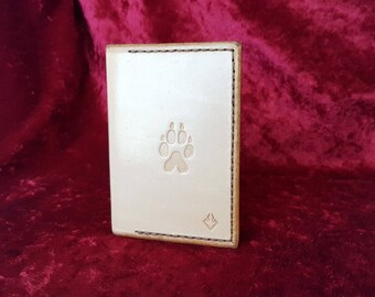 Leather wallet natural Wolf theme