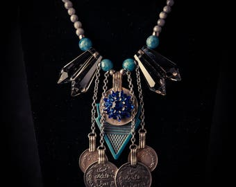 Tribal Necklace with Smoky Crystals and Antique Turquoise Talhakimt