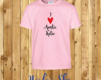 I Love Auntie (your name here) 100% Cotton Kids T-shirt Present Gift Birthday Aunty Childrens