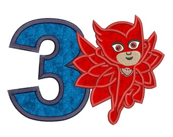 Owlette Pj Masks 3rd Birthday Applique Design Instant Download 3 sizes