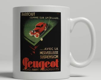 Peugeot vintage car advertising poster printed on a new ceramic mug. Loving all things art deco and retro. UK Mug Shop. Peug 1
