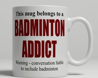 Badminton mug, badminton player mug, badminton Coffee mug, badminton player coffee mug, badminton gift, mug badminton EB addict badminton