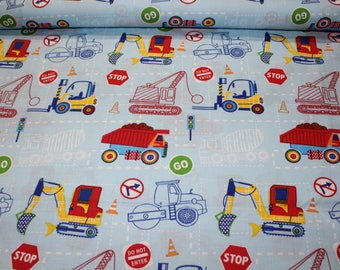 Kids fabric, 100% cotton, medium, truck, construction