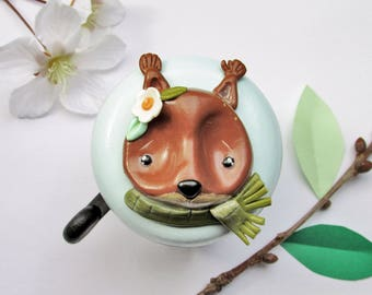 Bike Bell - Squirrel Ginny - 55mm - polymer clay - handmade