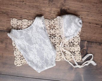 Lace Bonnet & Romper set, Available in Sitter size and newborn, baby girl, photo prop