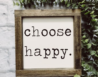 Choose Happy | Farmhouse Decor | Farmhouse Sign | Hand Painted | Modern Farmhouse