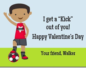 African American Soccer Classroom Valentines - Personalized Kids Valentines - African American Day Cards  - Boy Valentines