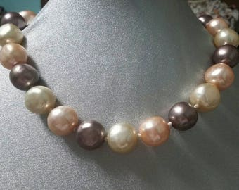 Neutral colored bead vintage choker