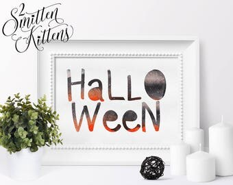 Watercolor Halloween Printable Art, Watercolor Halloween Art Print, Boo Halloween Printable Sign, Instant Download, Printable Art, WHIMSY
