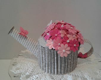 Book Sculpture, Altered Book Art, Paper Flowers, Paper Flower Bouquet, Watering Can, Book Art, Gift for a Gardener, Recycled Books
