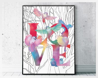 Love sign with flock of birds wall art instant download - colorful modern art for dining room - positive wall art printable love letters