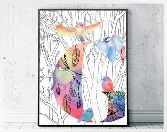 Boho Digital Print, Printable Initials Nursery Art, Monogram Art Printable, Colorful G Monogram Prints, Letter G Kids Room, G Printable