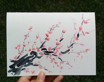 Hand Drawn Card (Handmade), Cherry Blossom Card, Flower Card, Cherry Blossom Stationery, Flower Stationery