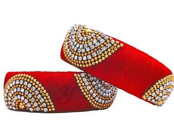 Silk Thread Bangle Set with Stone Work