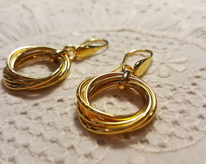 Pre-Owned Milor Bronze Earrings Goldtone Dangle Mulitple Circles Modern Contemporary