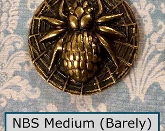 Choice of One 19th Century Antique Stamped Brass Spider in a Web Button NBS Medium Wonderful Detail
