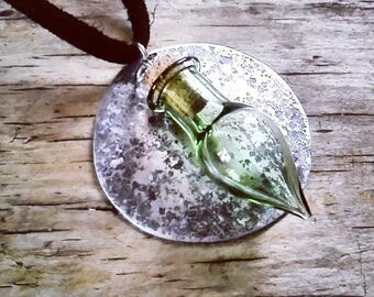 Moonmagic Mistress Pendant Necklace  - pagan witch druid shaman shamanka witchcraft spiritual Lunar luna recycled jewellery reuse potions