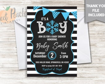 Winter Baby Shower Invite Invitation 5x7 Digital Personalized It's A Boy Baby Sprinkle Blue Snowflake White Black Stripe Banner  #99.0