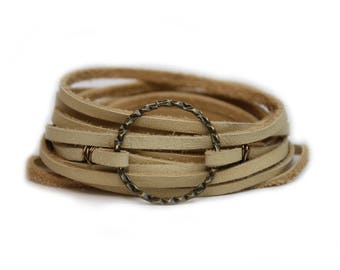Antique Brass Circle Wrap Bracelet