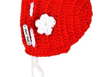Crochet girl beanie, flower beanie,newborn beanie/ winter Australia/ winter