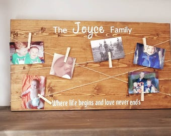 Clothespin Picture Frame | Clothes Pin Sign | Twine Photo Holder | Living Room Decor | Family Picture Collage | Family Photo Display |