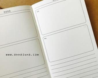 Daily Standard Traveler's Notebook Insert, TN Daily Refill, A5 Notebook, Traveler's Journal, Bullet Journal, Planner Insert