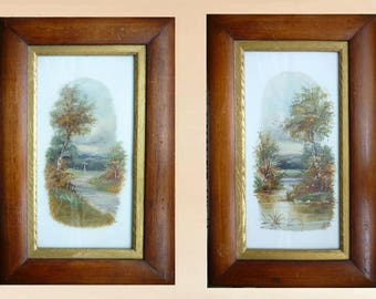 Two Victorian oil paintings on porcelain