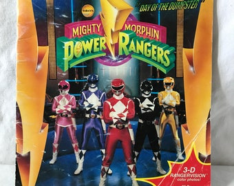 """1994 Saban Mighty Morphin Power Rangers 3-D Rangervision """"Day of the Dumpster"""" book"""