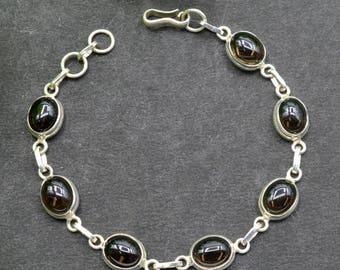 Natural Smoky Quartz Oval Gemstone Chain Bracelet 925 Sterling Silver B11