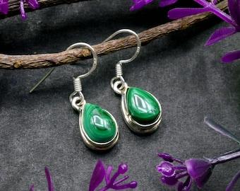 Natural Malachite Pear Gemstone Drop Dangle Earring 925 Sterling Silver E210