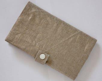 Checkbook holder in copper metallic linen