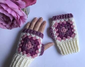 Crochet wrist warmers, crochet fingerless gloves, crochet gloves, fingerless mittens