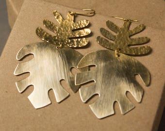 Monstera Palm Earrings