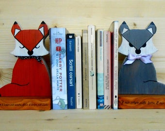 Fox wooden bookends