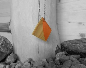 Rhomboid necklace/pendant/pendant wood resin Orange