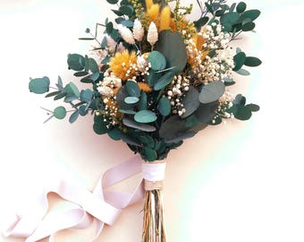 Ramo pequeño de flores preservadas color mostaza y greenery - Small greenery bouquet with mustard flowers and eucalyptus - wedding bouquet