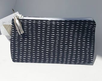 Large zipper bag, Large make-up bag, Pouch with handle, Square bag for toys, pencil case, crochet needle bag