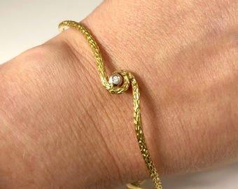 Estate Roberto Coin Designer 18K Yellow Gold Diamond Bangle Bracelet 10 Grams
