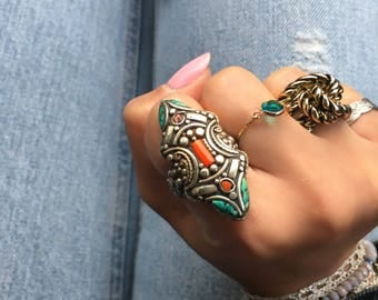 Boho Ring, Moroccan Jewelry, Tribal Ring, Bohemian Jewelry, Gypsy Ring, Moroccan Ring, Ethnic Jewelry, Ethnic Ring, MoroccanBirds