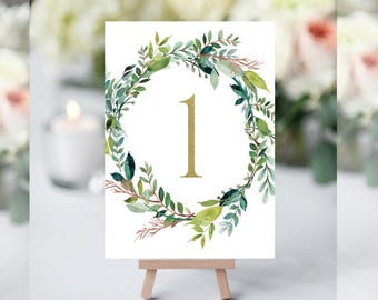 Greenery Table Numbers, Greenery Table Numbers Template, Elegant Wedding Table Numbers, Table Number for Wedding, Rustic Table Numbers