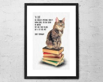 Cat Quote By Ernest Hemingway - Drawing - Hemingway Quotes - Cat Lover Gift - Cat Poster - Cat Drawing - Literary gifts - Literary Quotes