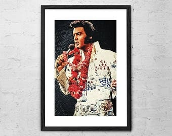 Elvis Presley - Illustration - Elvis Presley Poster - Elvis Art - Elvis Poster - Rock and Roll - Rock Poster - Music Art - Music Poster