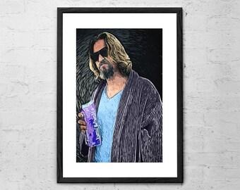 The Dude - The Big Lebowski - Jeff Bridges - The Dude Abides - Movie Poster - Big Lebowski Poster - Coen Brothers - Big Lebowski Art Print
