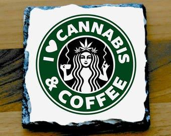 Weed Printed Mug Coaster Coasters . cannabis